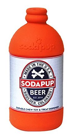 SodaPup: Treat Dispensing Dog Toys Shaped like a Soda Pop - Tough Dog Toys for Large Dogs, USA Made - Orange *** Find out more about the great product at the image link. (This is an affiliate link and I receive a commission for the sales) Tough Dog Toys, Dog Chew Toys, Dog Chews, Large Dogs, Dog Treats, Beer Bottle, Dog Food Recipes, Pet Supplies, Soda