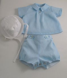 Ice Blue Linen suit and Hat for a Baby Boy by patriciasmithdesigns