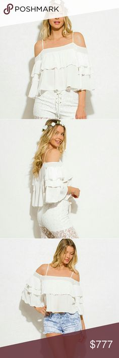 Sassy Boho Off shoulder top Brand new Boutique item Price is firm  Sexy off shoulder style with straps top featuring lovely  feminine ruffles. A must have for the season.  Model is wearing a small    Coachella boho bohemian off cold shoulder vacation flare vegas cruise getaway popular   Tops