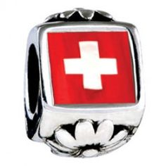 Flag Of Switzerland Photo Flower Charms  Fit pandora,trollbeads,chamilia,biagi,soufeel and any customized bracelet/necklaces. #Jewelry #Fashion #Silver# handcraft #DIY #Accessory