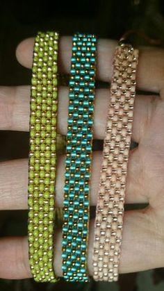 Loom beaded bracelet with waxed cord or other cord/Beaded bracelet bohemian boho gypsy - Schmuck Selber Machen Loom Bracelet Patterns, Bead Loom Bracelets, Bead Loom Patterns, Jewelry Patterns, Beading Patterns, Seed Bead Jewelry, Beaded Jewelry, Seed Beads, Jewellery