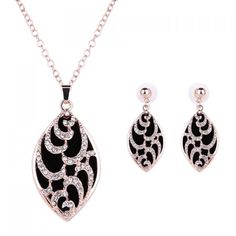 Charming Rhinestoned Oval Shape Pendant Necklace and Earrings For Women