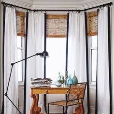 For curtains in dining room: Turn corners by spreading rings on either side of bracket.
