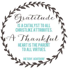 Gratitude is a catalyst to all Christlike attributes.  A Thankful heart is the parent to all virtures.