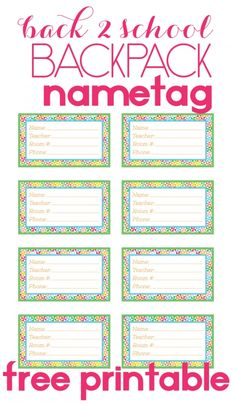 Back to School Backpack Name Tag - The Bold Abode Name Tag Templates, Templates Printable Free, Free Printables, Printable Name Tags, Printable Labels, Diy Bag Tags, Gift Tags, Name Tag For School, School Fun