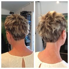 Pixie crop with highlights and lowlights. Hair by Tom