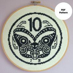 New Zealand 10 Cent Coin Tiki, Retro Kiwiana, Cross Stitch PDF Pattern, Instant… Shirt Embroidery, Vintage Embroidery, Embroidery Patterns, Cross Stitch Fabric, Cross Stitching, Cross Stitch Embroidery, Modern Cross Stitch, Cross Stitch Designs, Cross Stitch Patterns