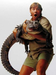 The crocodile hunter Steve Irwin appears in this animated gif holding one of his beloved crocs. Stare at the white dot in the center of the image until it changes to black and white, whereby you will see Steve and his buddy in full color. Terri Irwin, Steve Irwin, Irwin Family, Crocodile Hunter, Bindi Irwin, Ayers Rock, Australia Day, Australia Funny, Visit Australia