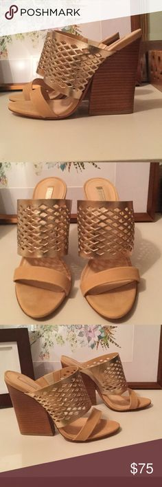 Schutz Brunilla Mule Sandals, Like New! Gold and nude mule sandals, never worn outdoors! SCHUTZ Shoes