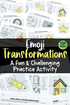 Transformations Practice Emojis Translate Reflect Rotate And Dilate In 2020 8th Grade Math Middle School Math Fun Math Activities