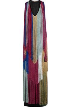 Roberto Cavalli - Fringed Knitted Gown - Burgundy - IT