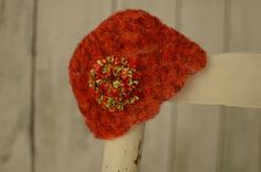 Hand Crocheted Cloche or Beanie in Tomato Red Mohair by NRBDesigns, $20.00