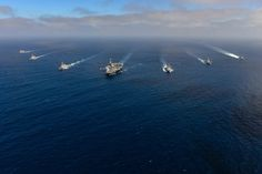 Around the World Wednesday: U.S. Navy ships are underway in the Pacific Ocean as part of a group sail with the John C. Stennis Strike Group. Group sails provide an opportunity for crews to focus on teamwork and communication and hone skills Sailors need when executing the nation's maritime strategy. | #AmericasNavy #USNavy #Navy navy.com