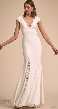 bhldn 2018 bridal cap sleeves v neck elegant simple romantic bohemian sheath wedding dress keyhole back sweep train mv -- BHLDN& Designer Collective: Exclusive Wedding Dresses Bhldn Wedding Dress, Rustic Wedding Dresses, Wedding Dress Trends, Wedding Dress Sizes, Wedding Invitation Trends, Wedding Attire, Bridal Gowns, Wedding Shoes, Backless Wedding