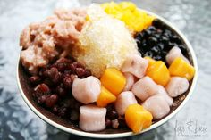 shaved ice, red beans, sweet potato, pearls, taro balls with mango // yummy Taiwanese dessert!