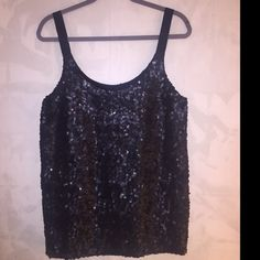 Theory, Ondrea Sleeveless Black Silk & Sequin Tank Full sequin top with beautiful silk fabric. Perfect for the holidays! Theory Tops Tank Tops
