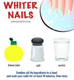 DIY NAIL SOAK FOR WHITER NAILS Lemon juice is an all-around great product to treat your nails. It acts as a natural bleach against yellow stains, contains Vitamin C for growth and gives you extra shine. Things you need: You need 1/4 cup lemon juice, 1/4 cup warm water, and 2 teaspoons salt or baking …