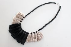 Tassel Necklace Black and White Statement by MadiJaneAccessories