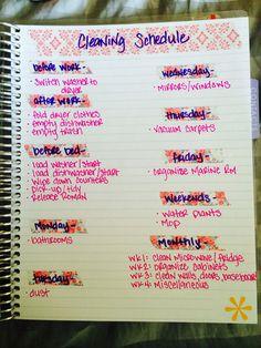 Cleaning schedule in my Erin Condren Life Planner #lovetobeorganized