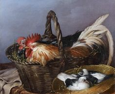 Giacomo Ceruti -  Baskets of Chickens and Pigeons 18th century