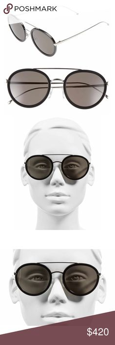 Fendi Round Aviator Sunglasses A stunning classic. Bold rounded frames extend the modern appeal of aviator sunglasses fitted with sleek gradient lenses. 51mm lens width; 22mm bridge width; 140mm temple length. 100% UV protection. Metal. By Fendi; made in Italy. Brand new in Case. Fendi Accessories Sunglasses