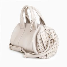 White Studded Duffel Roll Bag#Repin By:Pinterest++ for iPad#