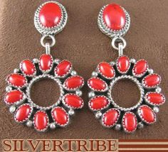 Native American Indian Jewelry Sterling Silver And Coral Post Dangle Earrings