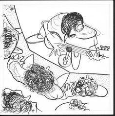 Con Rami en el recital de Francisco Bochaton <BR>Tinta sobre papel (15 x 15) cm | quesadaramiro