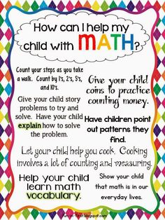 Free printables for Meet the Teacher/Back to School - Tips for Parents.How to Help My Child Succeed. We always see tips for reading, but these are just a tiny few of the many things we can do to help students be better at math! Math Classroom, Kindergarten Math, Teaching Math, Preschool, Kindergarten Graduation, Classroom Ideas, Teaching Ideas, Math Resources, Math Activities