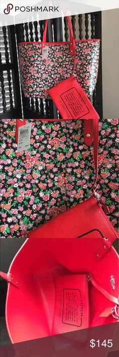 REVERSIBLE Coach Tote NWT, attached accessories pouch, red on one side floral print on the other. Coach Bags Totes