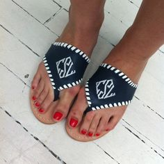 0dda0604199f Jack Rogers monogrammed sandals are too cute!