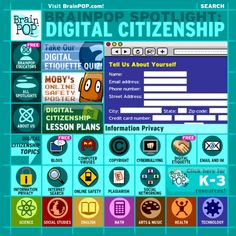 From copyright and plagiarism to cyber bullying and surfing the web, the Digital Citizen Spotlight from BrainPop provides a useful collection to help students understand their role as digital citizens.