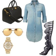 Denim dress & gladiator heels by tootieblack on Polyvore featuring polyvore fashion style GUESS Versace Michael Kors Linda Farrow
