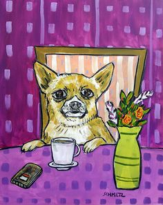 CHIHUAHUA at the coffee shop cafe giclee picture dog art print 11x14