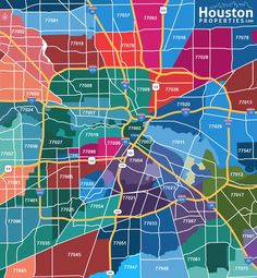 View all Houston zip codes in the map above. View Houston neighborhoods and Houston real estate by zip code. For a custom market report showing homes for sale, recently sold Houston properties, real estate sales trends and market analysis by zip code, please contact Paige Martin at Paige@HoustonProperties.com