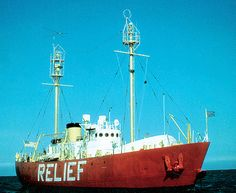 Lightship 605 - now called Relief - is one of six all-welded lightships constructed for the U.S. Coast Guard. She served for 25 years as a floating lighthouse and communications platform. Her first duty station was as Overfalls lightship station off Delaware