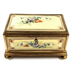 """RARE Large Antique French Kiln-fired Enamel Jewelry Box, Casket, 7.5"""", from antiques-uncommon-treasure on Ruby Lane"""