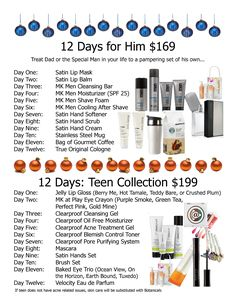 Let Mary Kay help you do a 12 days of Christmas for your hubby or teenager! Contact me http://www.marykay.com/lisabarber68 Call or text 386-303-2400