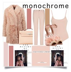 """""""Pink Monochrome Baby..."""" by nfabjoy ❤ liked on Polyvore featuring Drome, ATM by Anthony Thomas Melillo, Hermès, Miu Miu, Armani Jeans, monochrome and Pink"""