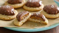 Make the easiest turtle cookies with only 3 ingredients! -- 1 package (16 oz) Pillsbury™ Ready to Bake!® refrigerated sugar cookies 24 turtle candies Coarse sea salt