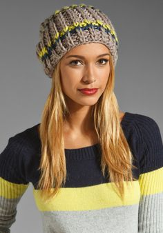FREE PEOPLE Cozy Knit Beanie in Chartreuse Combo at Revolve Clothing