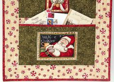 Christmas Card Holder  Quilted Wall Hanging  by RedNeedleQuilts
