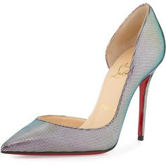 Christian Louboutin Iriza Iridescent Red Sole Pump (1,010 CAD) ❤ liked on Polyvore featuring shoes, pumps, heels, christian louboutin, louboutin, shoes heels, pointed toe high heel pumps, red sole pumps, high heel pumps and red high heel shoes