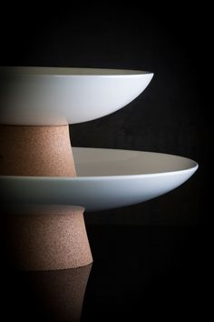 Lagoon Pedestal Bowls stack perfectly together to form a beautiful tiered centerpiece