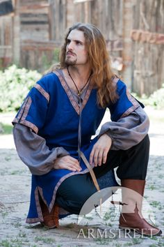 Medieval short-sleeved natural flax-linen tunic costume for sale