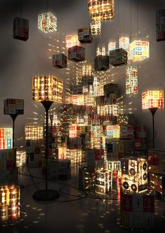 Cassette tapes floor lamps
