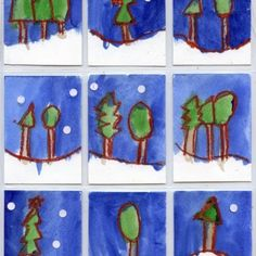 Snowy Landscape Art Trading Cards