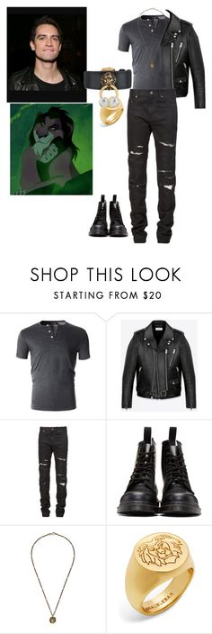"""""""brendon urie as scar from the lion king"""" by shyanne-andrade ❤ liked on Polyvore featuring Yves Saint Laurent, Dr. Martens, Gucci, BaubleBar, men's fashion and menswear"""