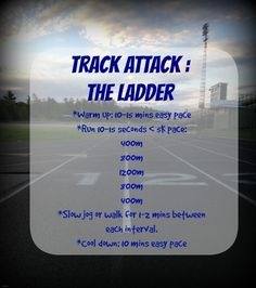 Track Attack: The Ladder Workout Happy National Running Day! I hope you are spending at least a port Running Diet, Running Club, Running Workouts, Running Track, Sprinting Workouts, Running Schedule, Running Drills, Kids Running, Speed Workout
