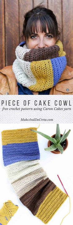 """This easy, modern """"Piece of Cake Cowl"""" is going to become your go-to accessory for fall and winter! Plus, this Caron Cakes Yarn free crochet pattern is simple to make even if you're not an experienced pattern-reader. Simple one-skein crochet project in Caron Cakes color """"Blue Icing."""" via @makeanddocrew"""
